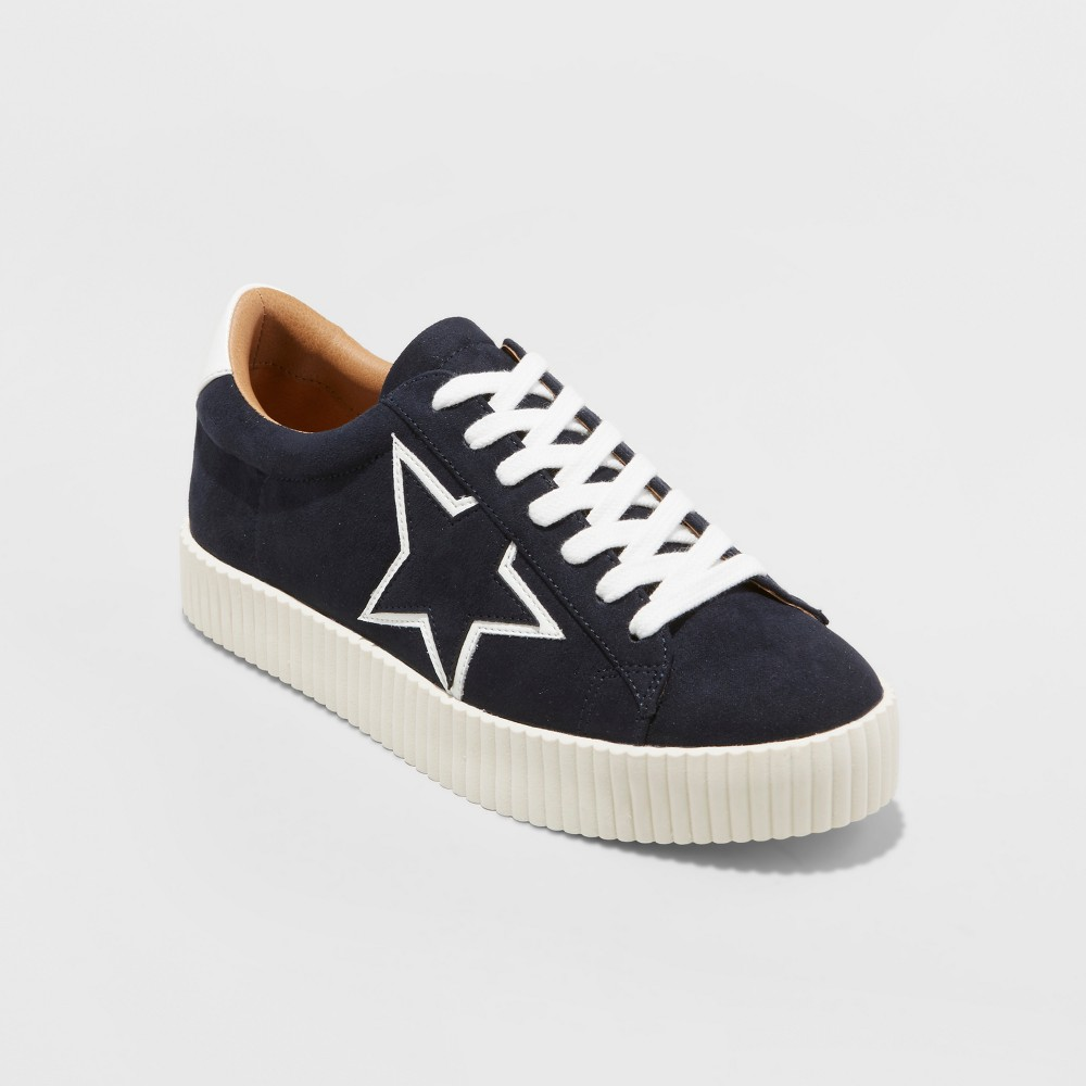 Womens Tilly Star Lace Up Sneakers - A New Day Black 6.5, Blue