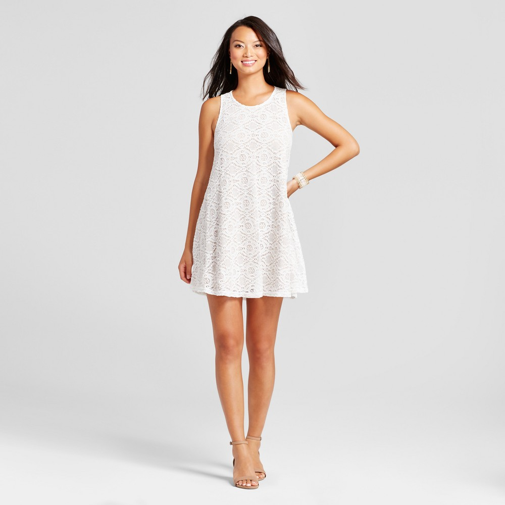 Women's Lace Trapeze Tank Dress - Zac & Rachel Ivory/Nude XL, White Multicolored