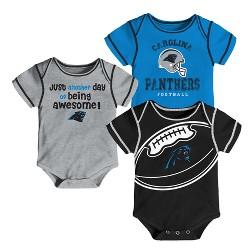Carolina Panthers Baby Boys' Awesome Fooball Fan 3pk Bodysuit Set