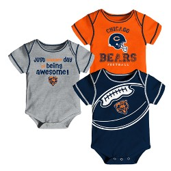Chicago Bears Baby Boys' Awesome Fooball Fan 3pk Bodysuit Set