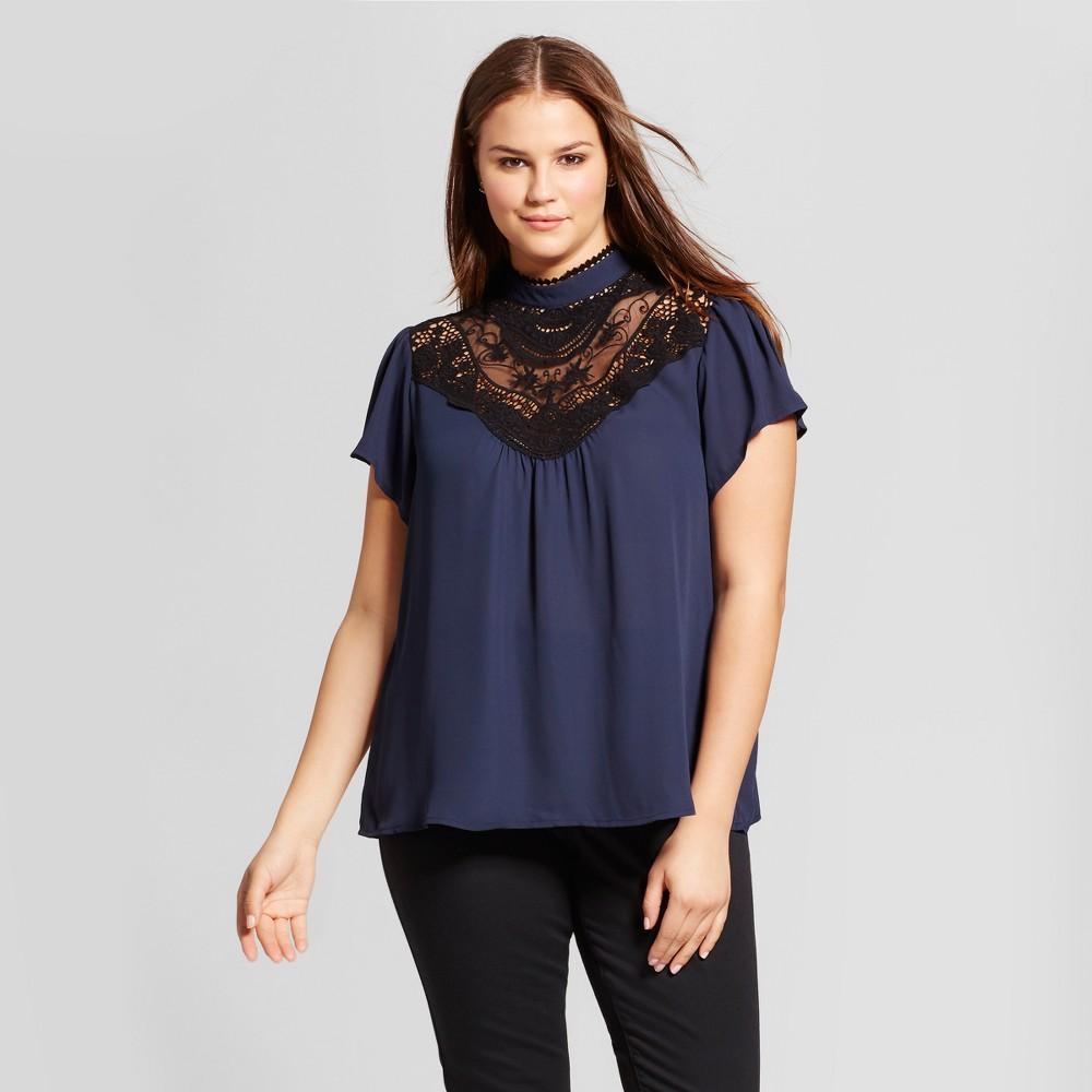 Womens Plus Size Crochet Trim Blouse - 3Hearts (Juniors) Navy (Blue) 2X