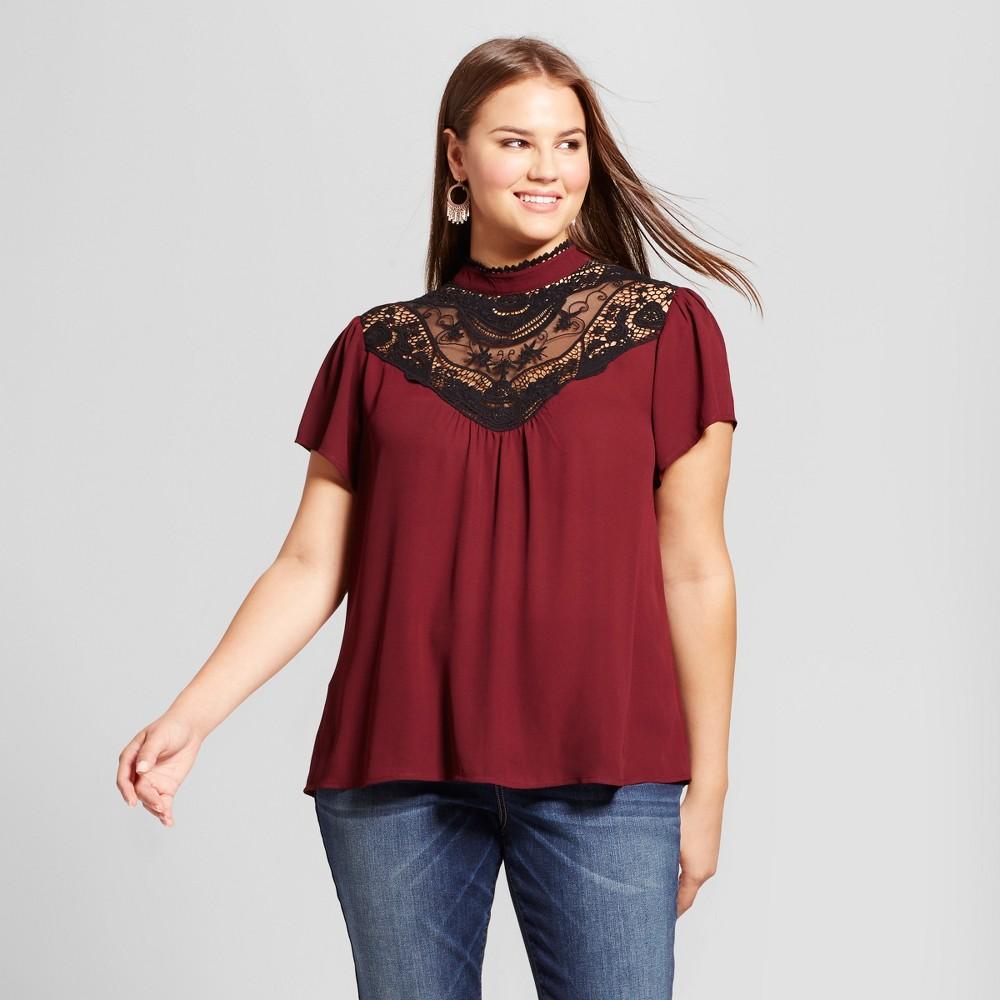 Womens Plus Size Crochet Trim Blouse - 3Hearts (Juniors) Red 1X