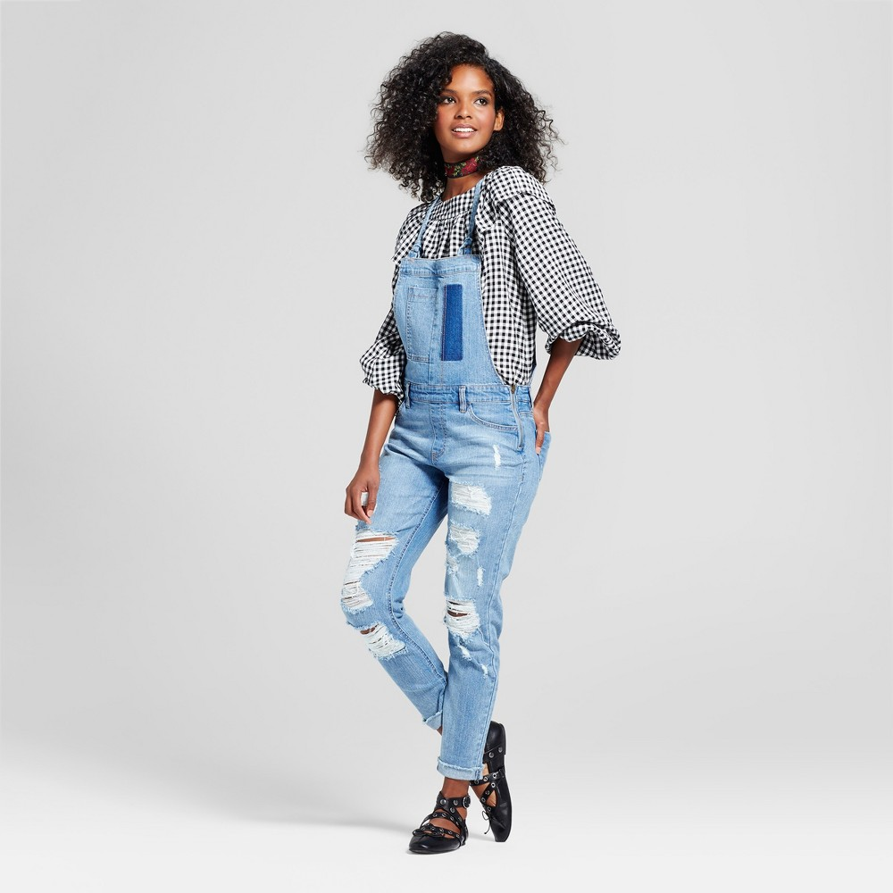 Womens Destructed Denim Overalls - Almost Famous (Juniors) Medium Wash 3, Blue