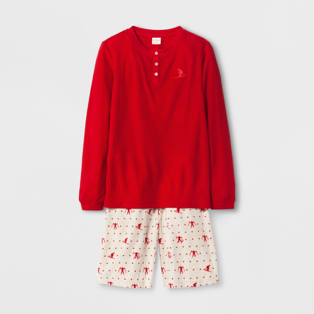 Boys 2pc Henley Set With Skier Print Shorts Pajama Set - Cat & Jack Red XS