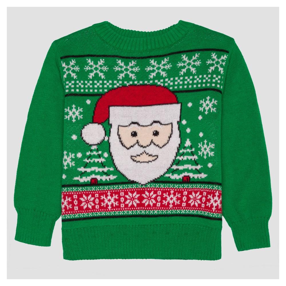 Well Worn Toddler Boys Santa Pullover - Kelly Green 2T