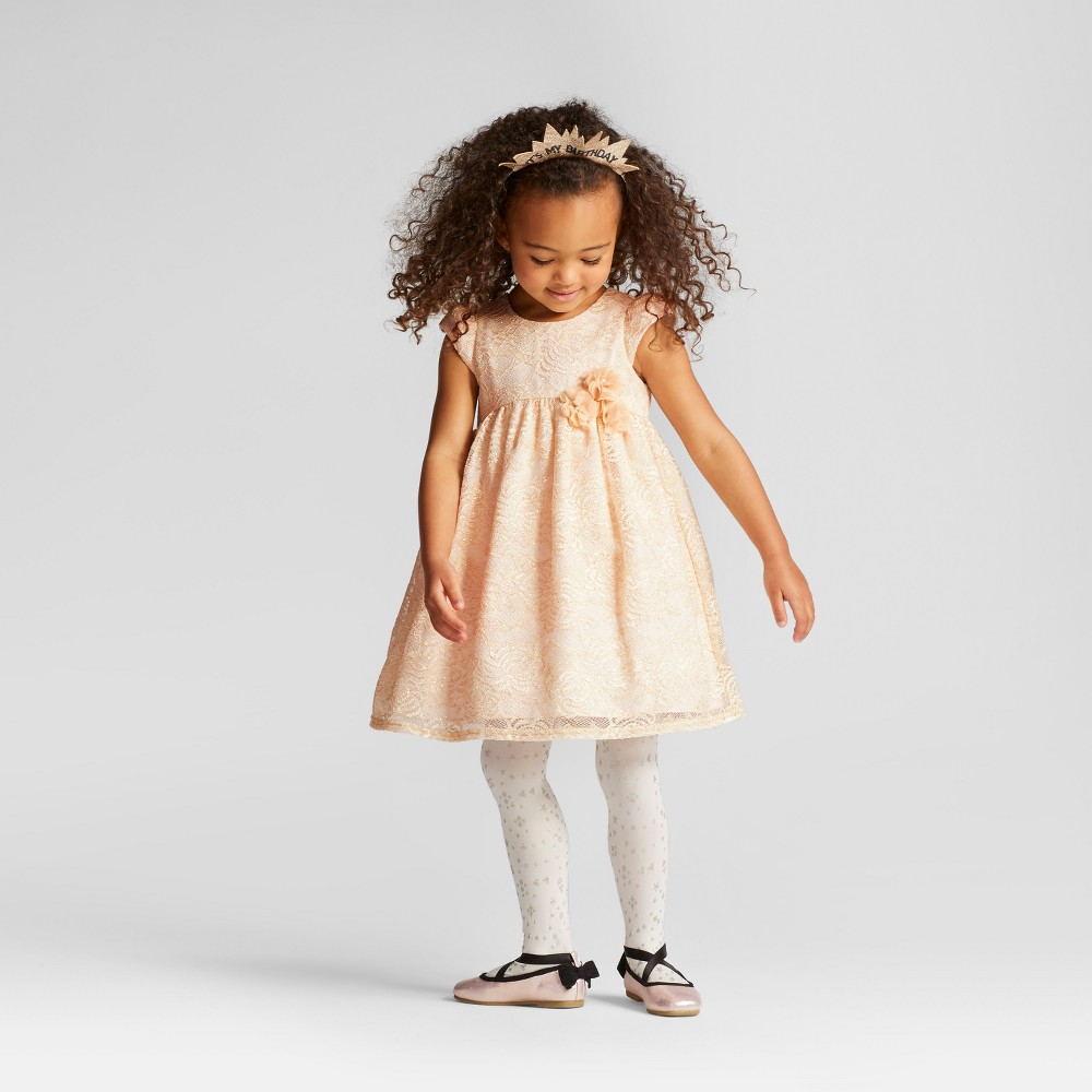 Toddler Girls Lace With Glitter Dress Mia & Mimi Gold 2T