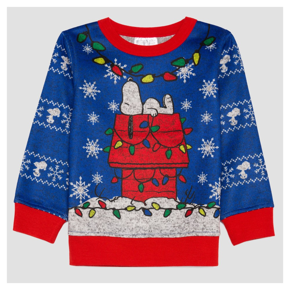 Toddler Boys Snoopy Holiday Sweatshirt - Electric Blue 4T