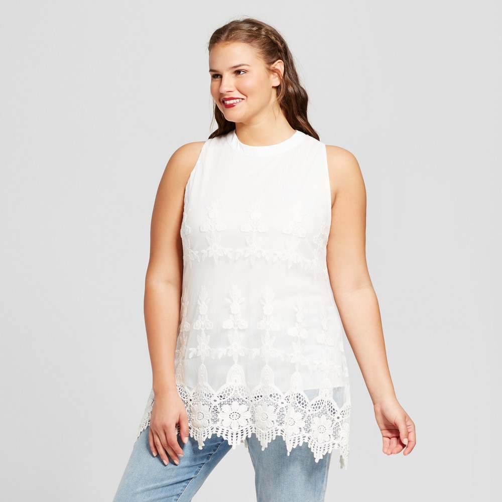 Womens Plus Size Lace Tank Top - 3Hearts (Juniors) Cream (Ivory) 3X