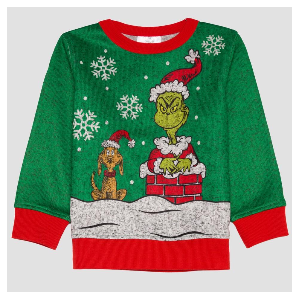 Toddler Boys Dr. Suess Grinchmas 2 Sweatshirt - Pepper 2T, Green