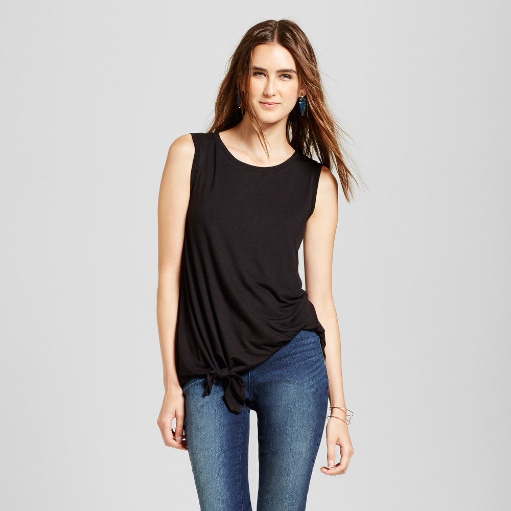 Womens Tie Front Top - Necessary Objects Black L