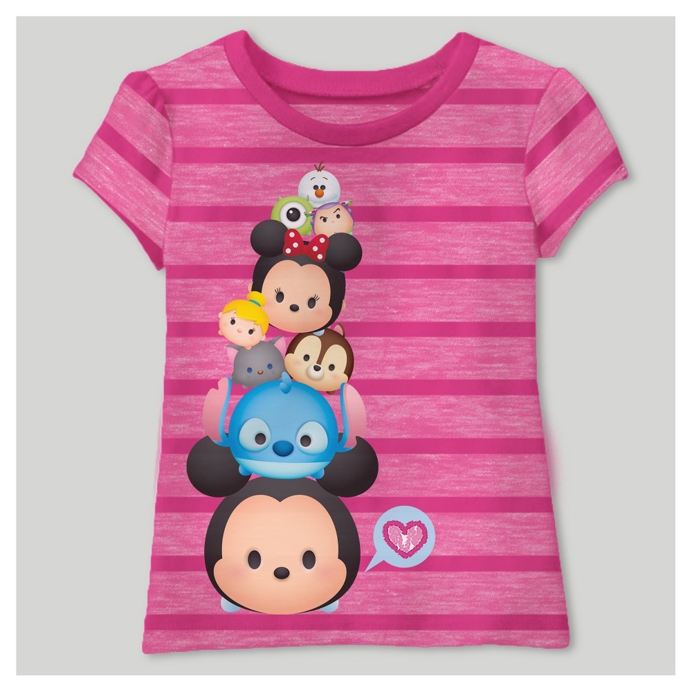 Toddler Girls Tsum Tsum Short Sleeve T-Shirt - Fuchsia 12M, Size: 12 M, Pink