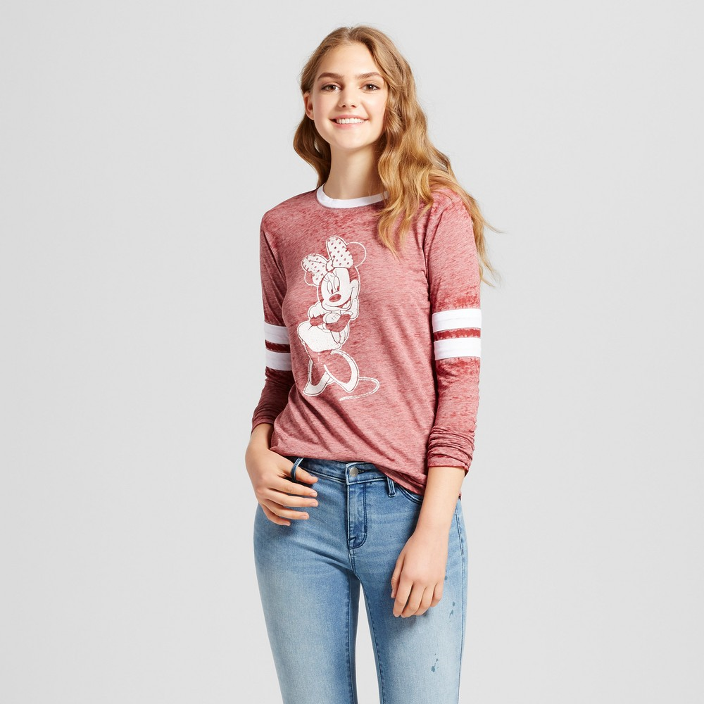 Womens Disney Minnie Mouse Long Sleeve Varsity Graphic T-Shirt Burgundy XL (Juniors), Red