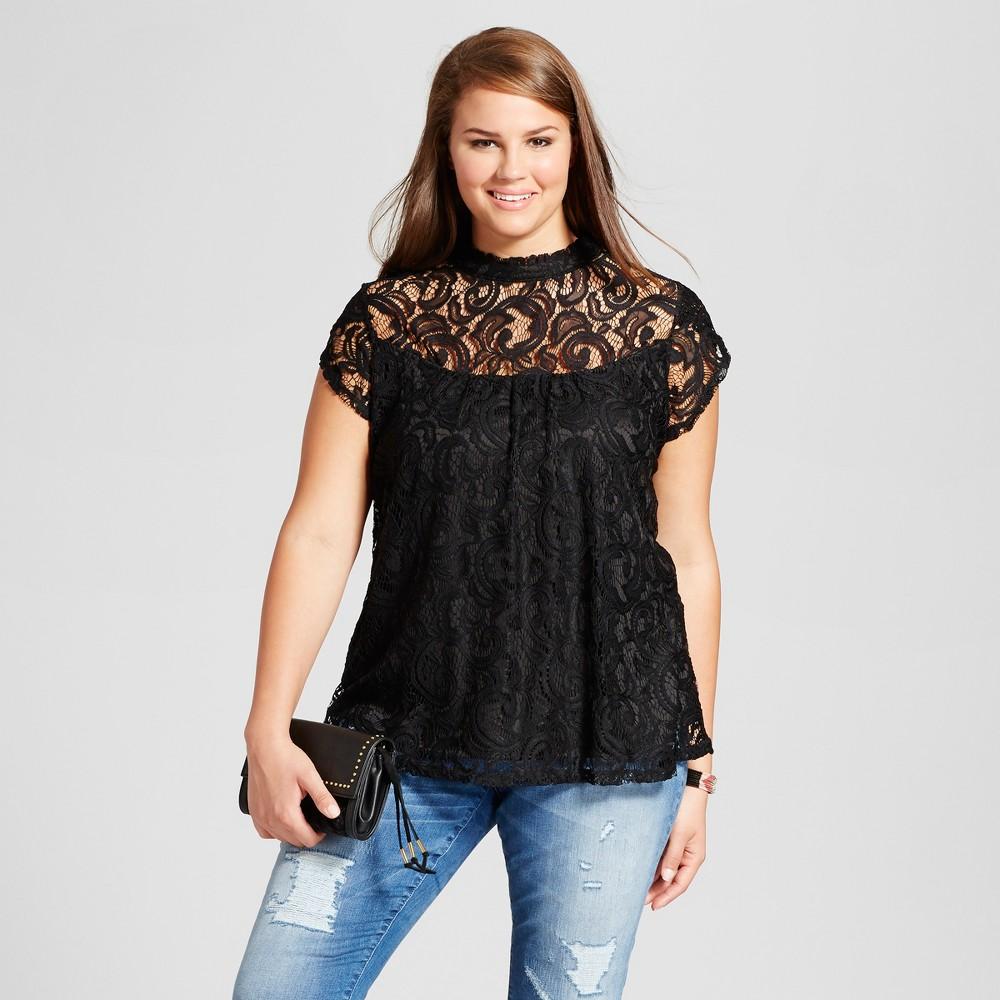 Womens Plus Size Illusion Neckline Blouse - 3Hearts (Juniors) Black 1X