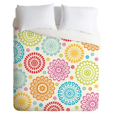 orange andi bird sausalito floral duvet cover set deny designs - Floral Duvet Covers