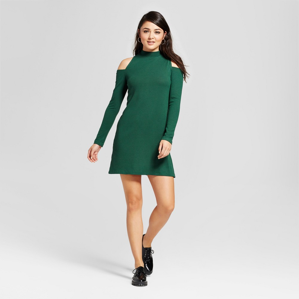 Women's Cold Shoulder Knit Ribbed Dress - Necessary Objects Green XS