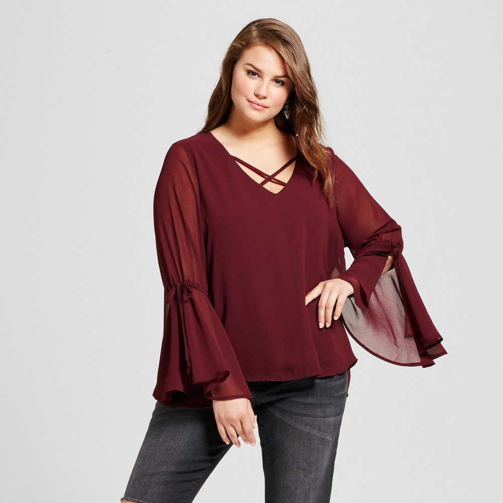 Womens Plus Size X-Front Top - 3Hearts (Juniors) Red 3X