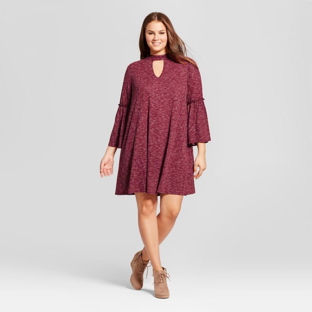 Womens Plus Size Rib Sweater Knit Dress - 3Hearts (Juniors) Red 3X