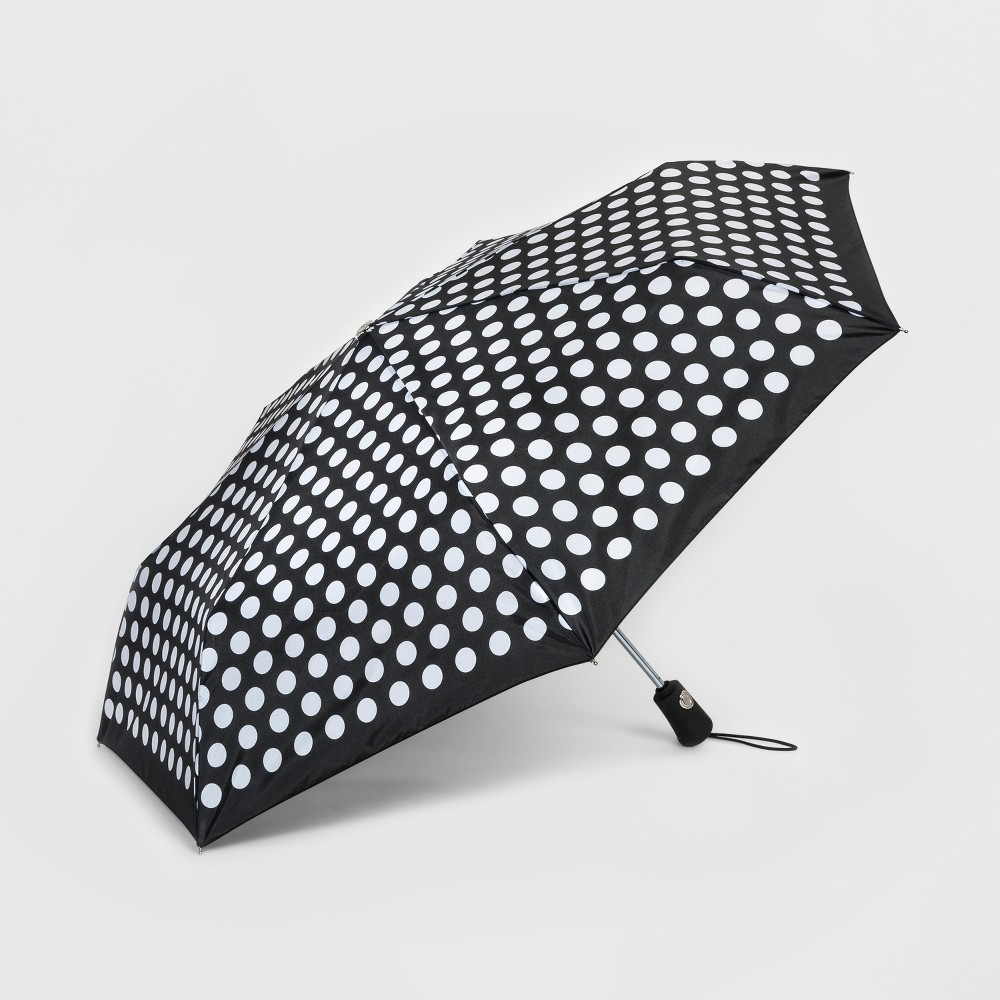 Totes Compact Umbrella With NeverWet Technology - Black/White