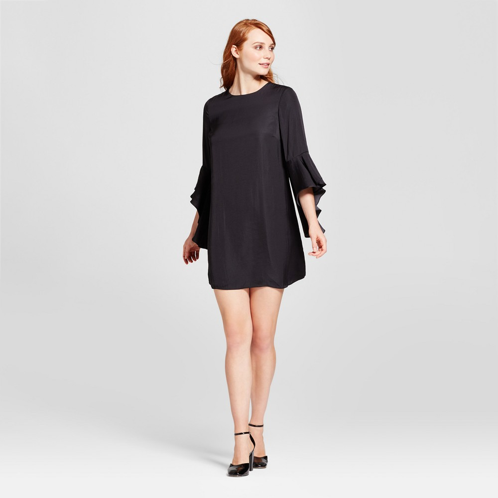 Womens Bell Sleeve Shift Dress - Who What Wear Black XS
