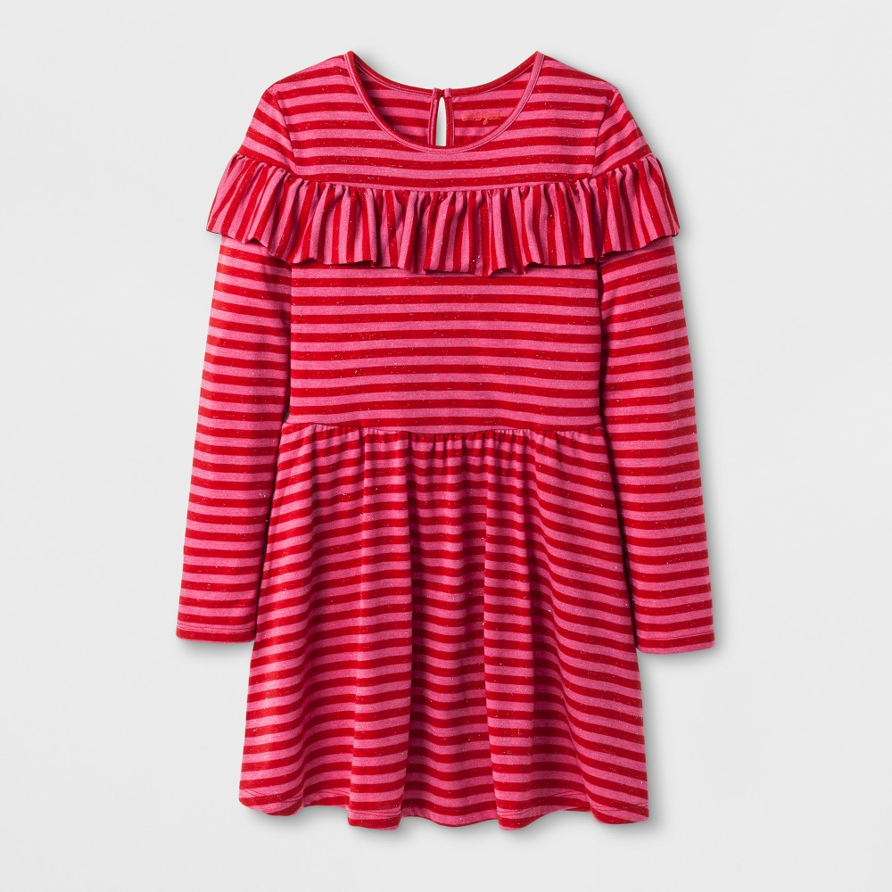 Girls Ruffle Stripe Dress - Cat & Jack Pink XL