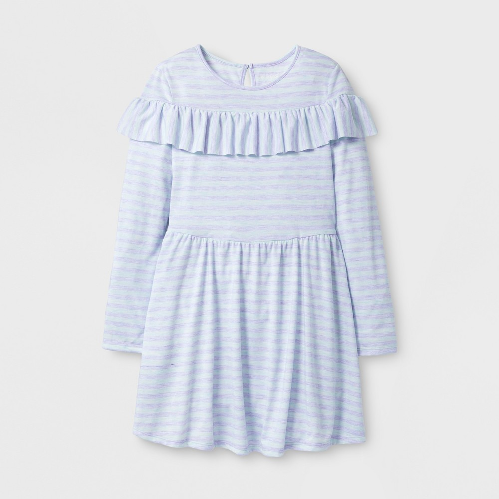 Girls Stripe Ruffle Dress - Cat & Jack Blue XL
