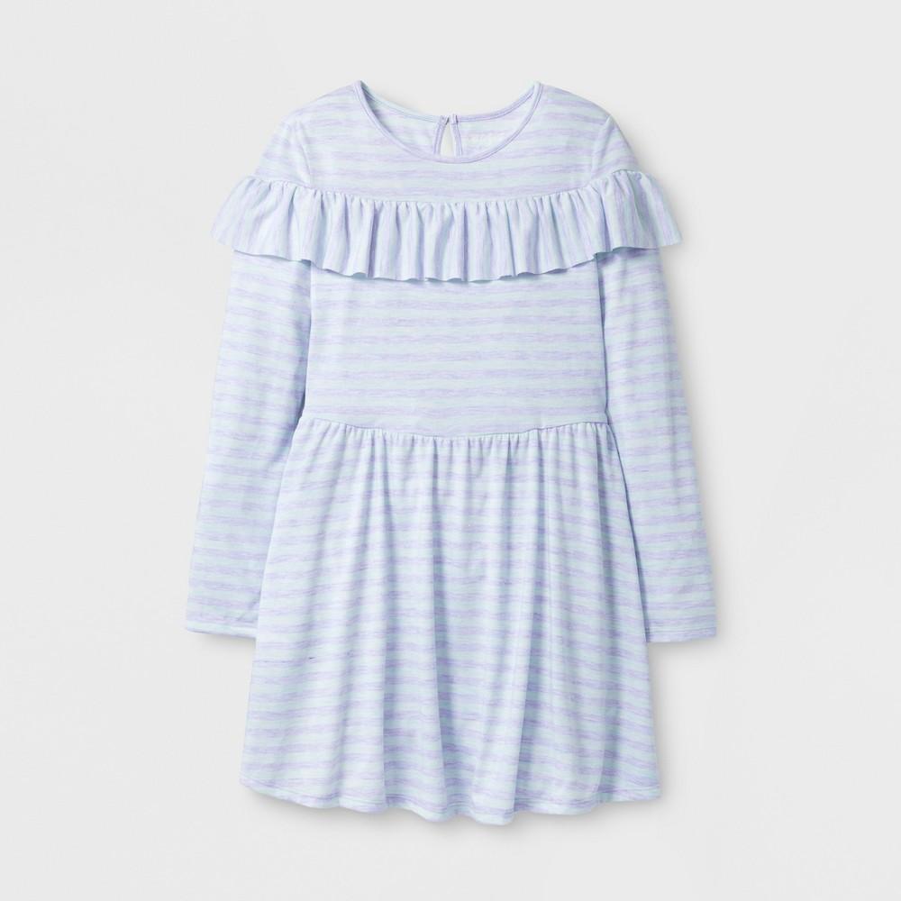 Girls Stripe Ruffle Dress - Cat & Jack Blue M