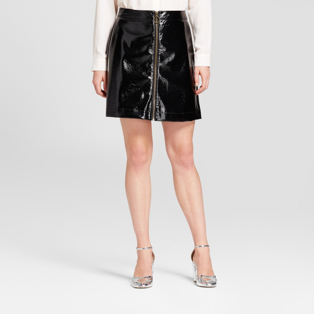 Womens Zip Front Moto Skirt - Who What Wear Black 10