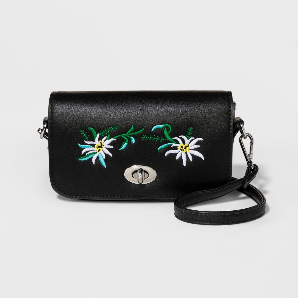 Womens Embroidered Crossbody Bag - Mossimo Supply Co. Black