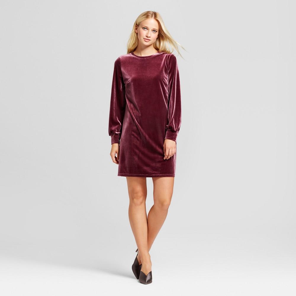 Womens Velvet Mini Dress - Who What Wear Burgundy (Red) M