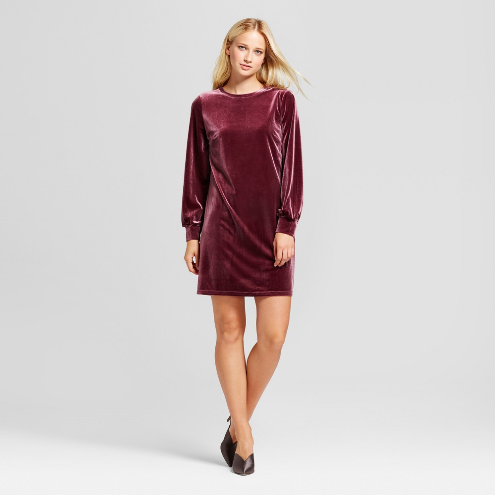 Womens Velvet Mini Dress - Who What Wear Burgundy (Red) L