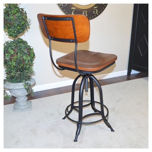 Silas Adjustable Stool Chestnut Black Carolina Chair