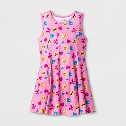 Girls' Smiley Emoji Sun Dress - Pink