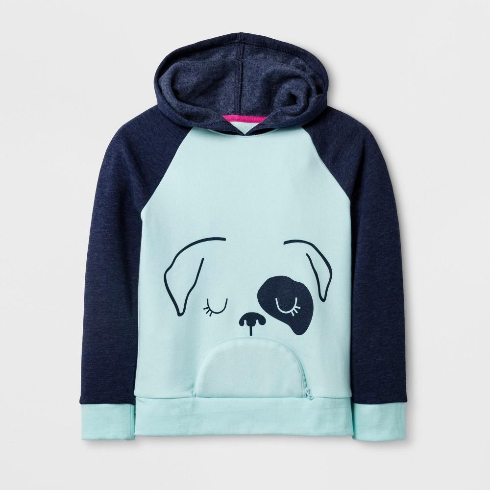 Girls Cozy Dog Print Pullover - Cat & Jack Aqua M, Green