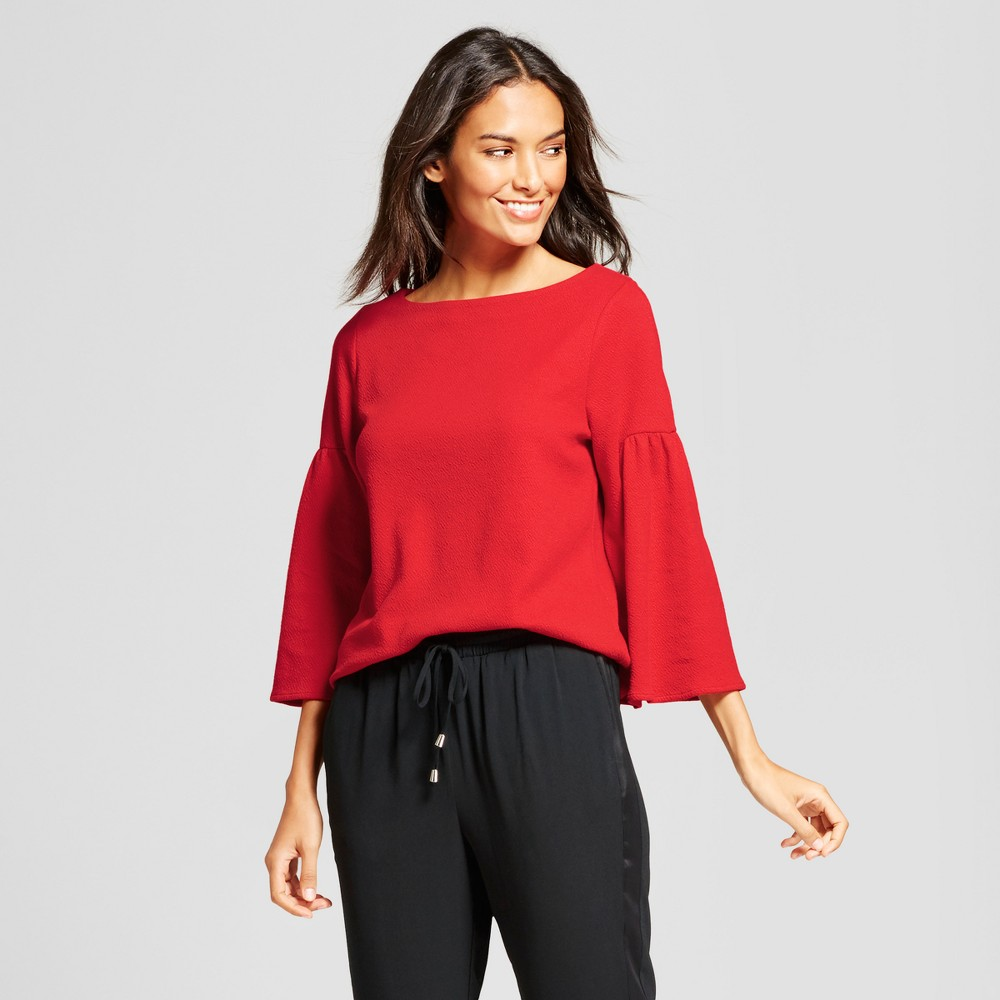 Womens Bell Sleeve Top - A New Day Red Xxl