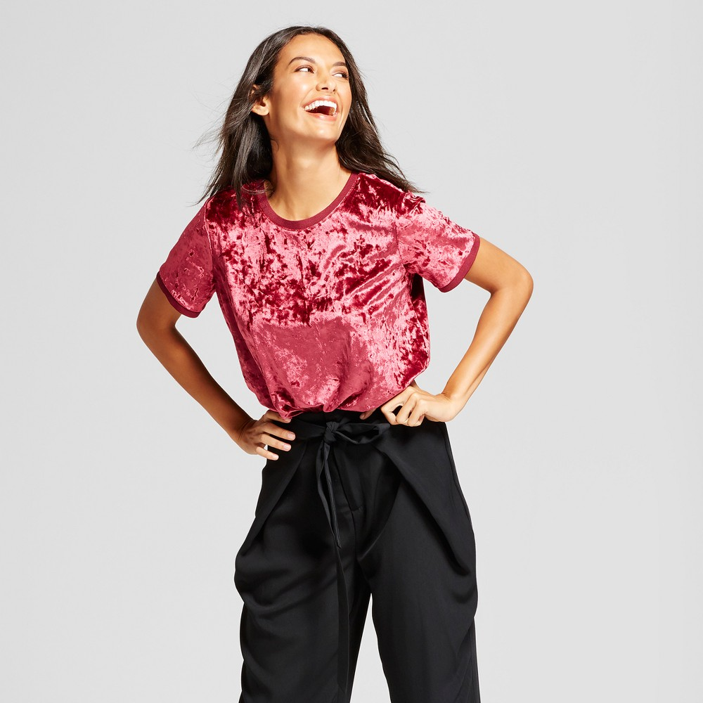 Womens Velour Top - A New Day Boysenberry Red XL