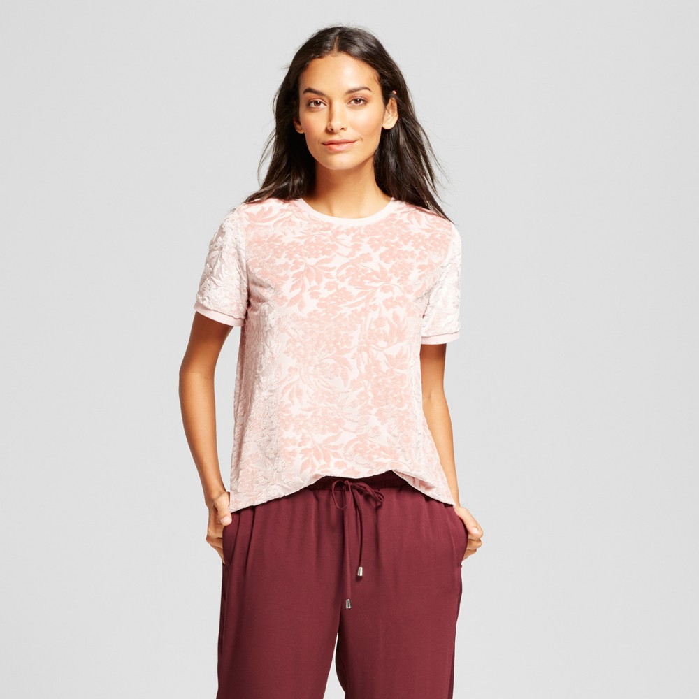 Womens Floral Velour Top - A New Day Smoked Pink M