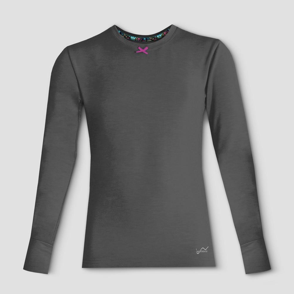 Watsons Girls Thermal Underwear Shirt - Charcoal S, Black