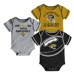 Jacksonville Jaguars Baby Boys' Awesome Football Fan 3pk Bodysuit Set