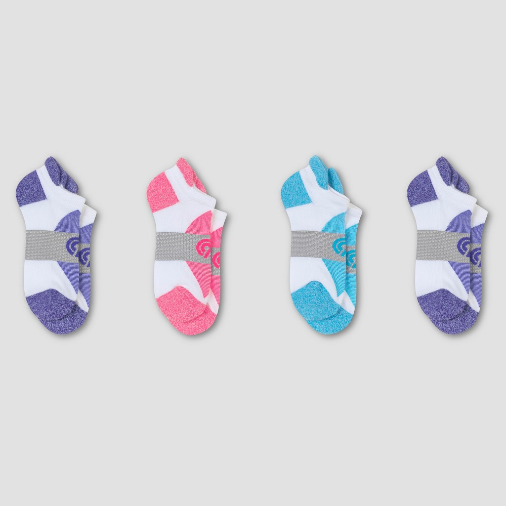 Womens Fresh IQ Heel Shield Socks 3pk + 1 Bonus - C9 Champion White/Purple 5-9