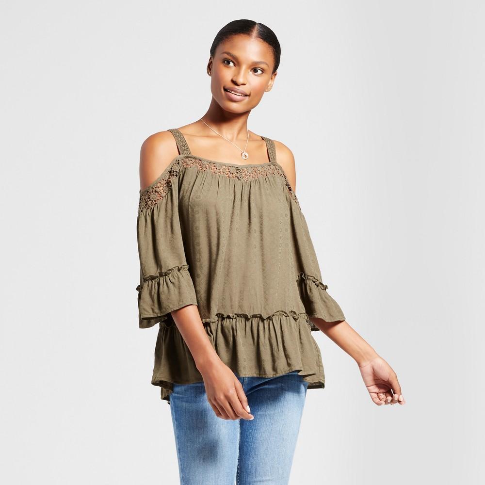 Womens Cold Shoulder Lace Yoke Ruffle Hem Blouse - Knox Rose Olive XL, Green