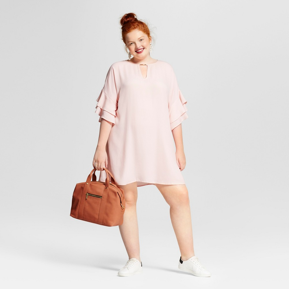 Womens Plus Size Ruffled Dress - 3Hearts (Juniors) Pink 1X