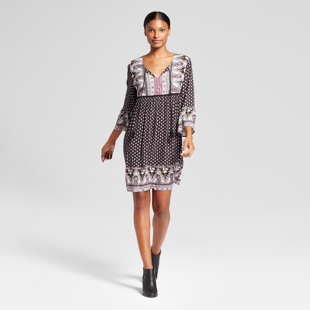 Womens Bell Sleeve Border Print Dress with Tassels - Knox Rose XS, Multicolored