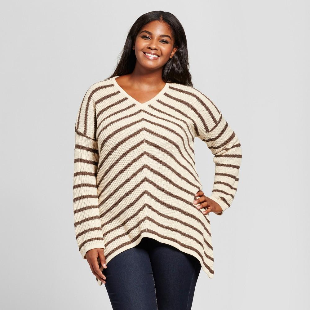 Womens Plus Size V-Neck Mitered Stripe Pullover Sweater - U-Knit Cream (Ivory) 2X