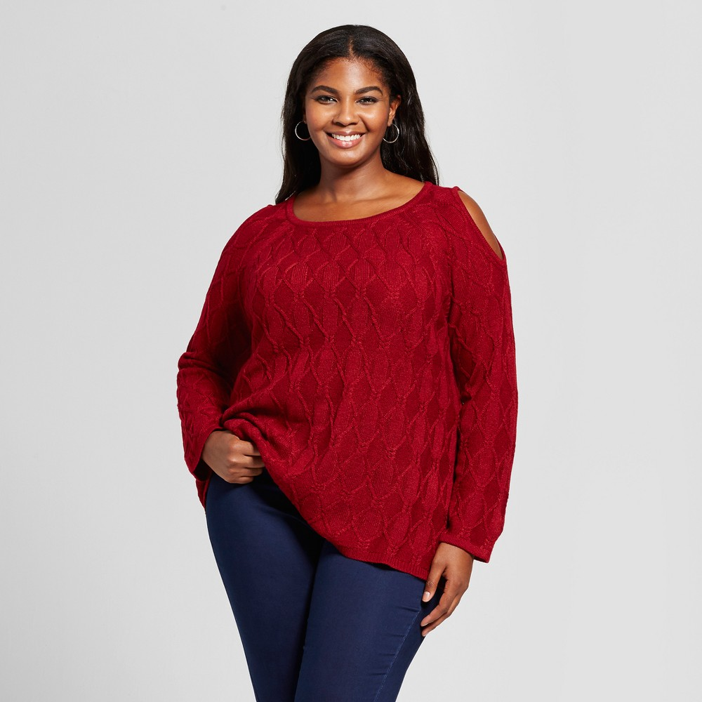 Womens Plus Size Cold Shoulder Pullover Sweater - U-Knit Red 3X