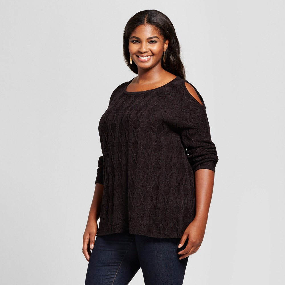 Womens Plus Size Cold Shoulder Pullover Sweater - U-Knit Black 3X