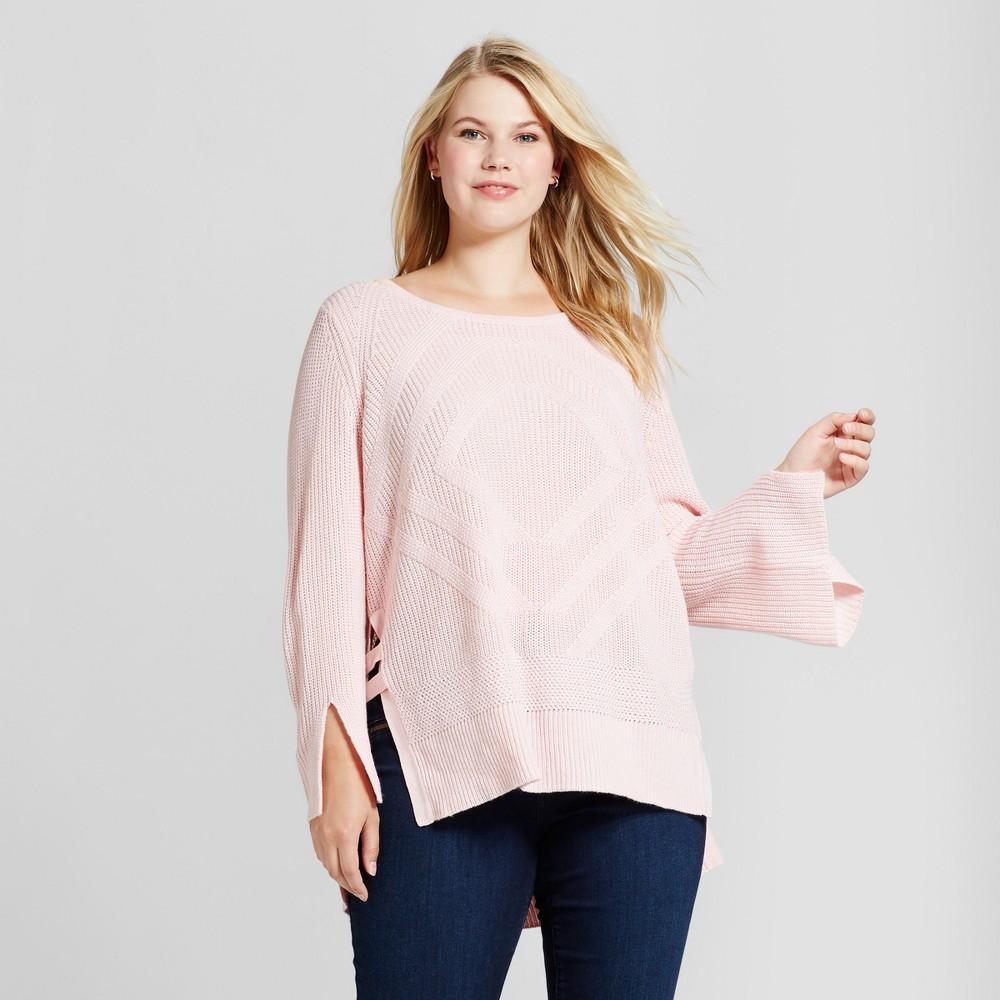 Womens Plus Size Side Slit Tunic Pullover Sweater - U-Knit Pink 3X