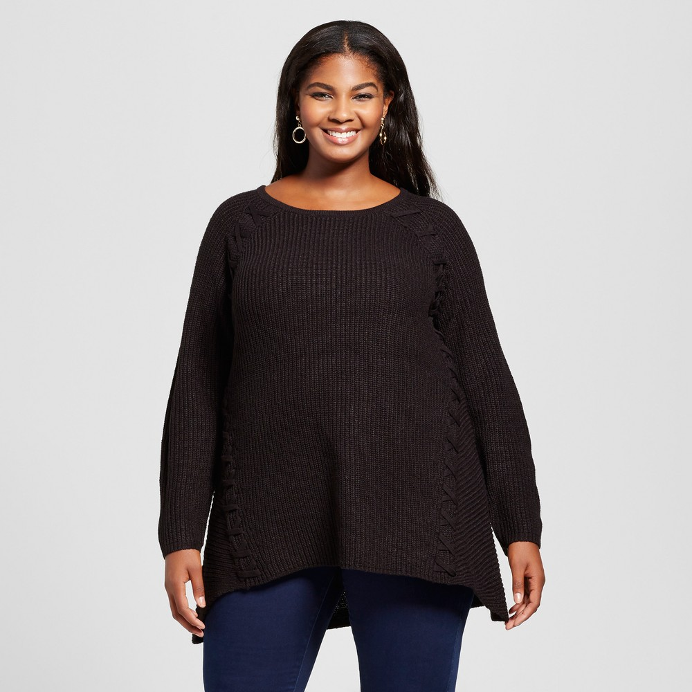 Womens Plus Size Lace Up Pullover Sweater - U-Knit Black 2X