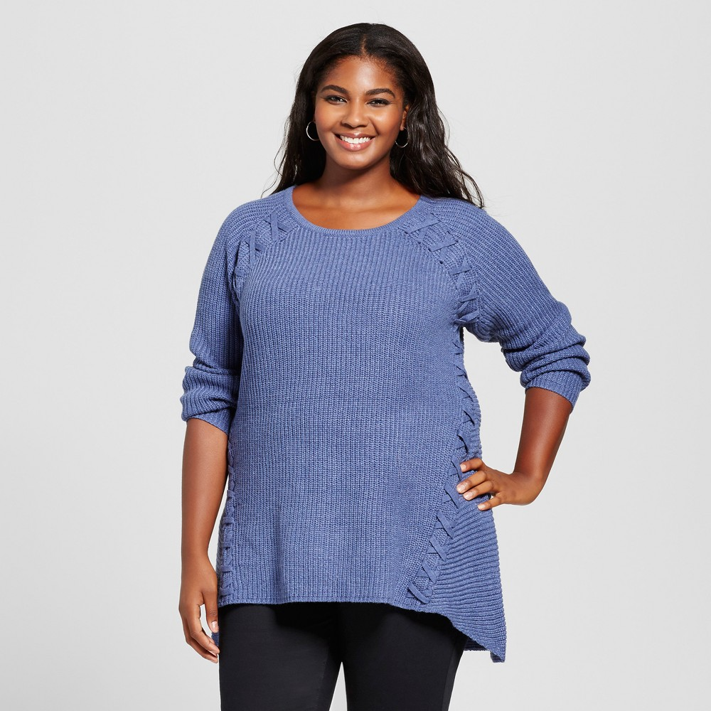 Womens Plus Size Lace Up Pullover Sweater - U-Knit Blue 2X