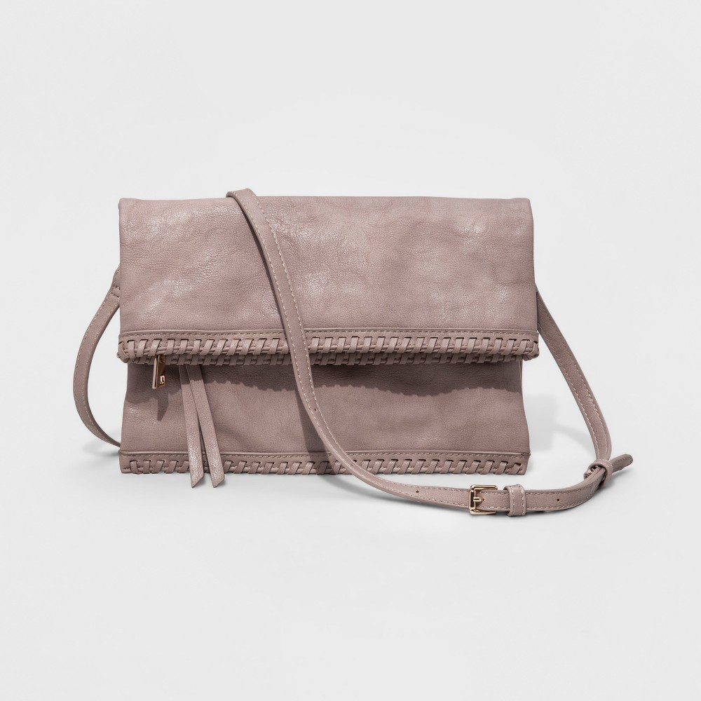 Womens Faux Leather Fold Over Crossbody Bag - Gray