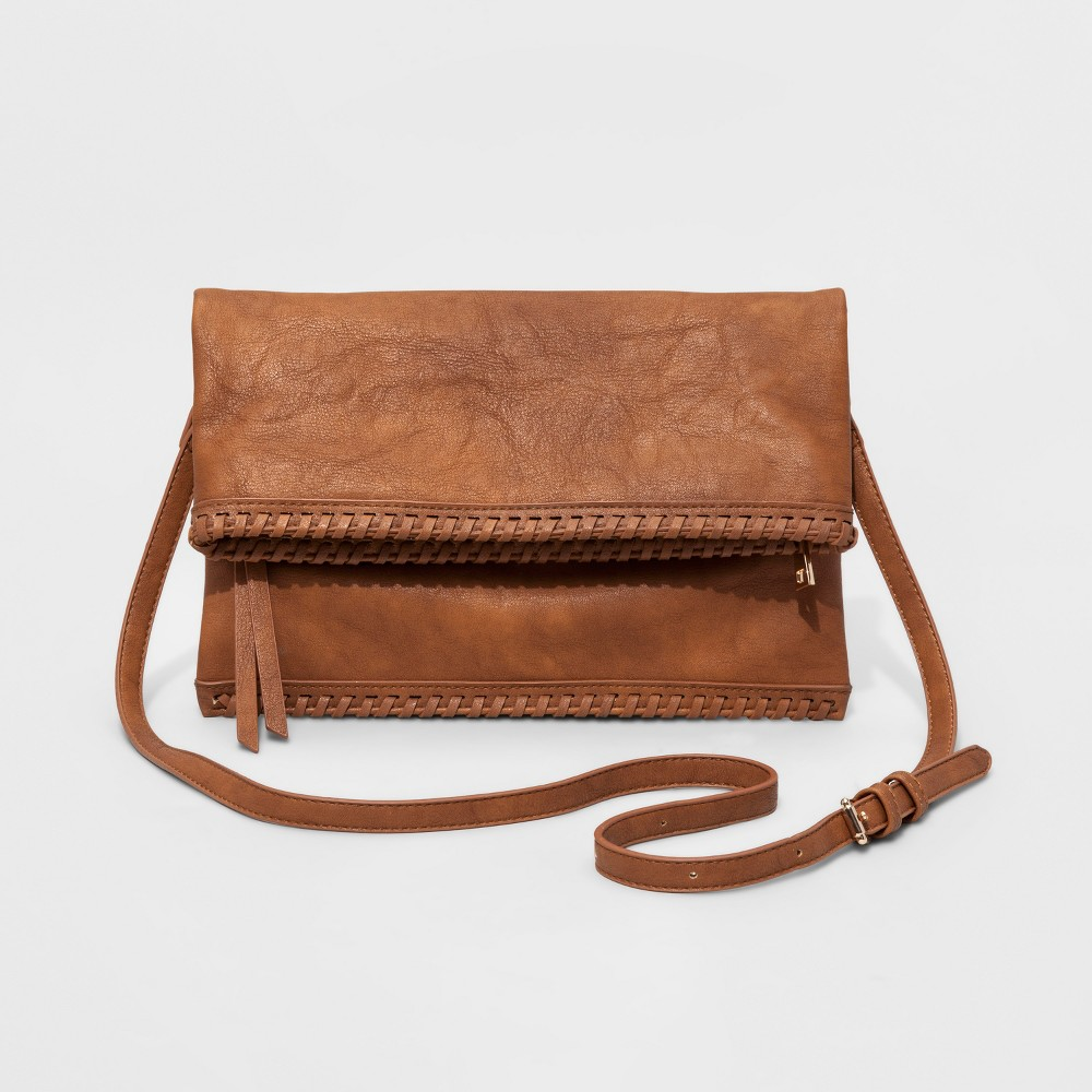 Womens Faux Leather Fold Over Crossbody Bag - Tan